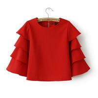 al por mayor roupas-2016070604 blusas de la manera dulce de las mujeres riza rojo flama O camisas de cuello marca la mitad ocasional de la manga tops ROUPAS renda Blusa Femininas vendimia
