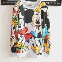Wholesale 2016 Autumn Spring Full Sleeve Printed Sport Suit Tracksuits Women Cartoon Sweatshirt mickey mouse Hoodies Coat Clothes Tops