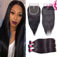 Wholesale Straight Lace Closure Peruvian Human Hair With Full Closure Bella Hair Products Middle Free Three part Top Closures With Straight Bundles