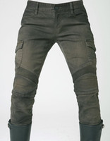 Wholesale uglyBROS Men and woman motorcycle pants Motorpool stylish riding jeans racing Protective pants of locomotive Black Stain over Olive green
