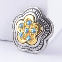 Wholesale Retro MM Rhinestone Snap Chunk Charm Button Colors Flowers Snaps Button Fit For Diy Jewelry Noosa Leather Bracelets