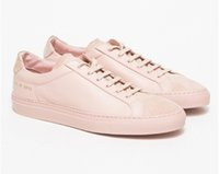 applique projects - Original Women By Common Projects Low Shoes Men Woman Genuine Leather Sheepskin Pink Casual Shoes Chaussure Femme Homme Scarpe