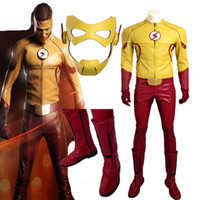 Wholesale 2016 Exclusive Version The Flash Cosplay Season Kids Flash Flash Boys Barry Allen Costume Halloween High Quality Full Set Outfit Any Size