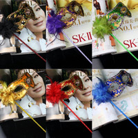 Wholesale On Sale Party Masquerade Masks Halloween Gold Cloth Coated Flower Side Venetian Carnival Party Mask On Stick Mix Color