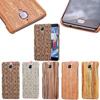 bamboo veneers - Woven Weave Wood Hard Leather Case For OnePlus One Plus Three Wooden Fashion Veneer Gluing Carbon Fiber Bamboo Phone Skin Cover