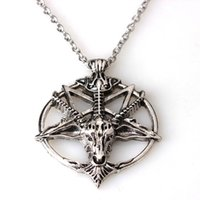 baphomet pendant - Baphomet Inverted Pentagram Goat Head Pendant Necklace Baphomet LaVeyan LaVey Satanism Occult Metal Pendant