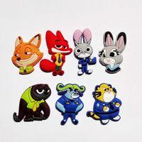 animal rubber band bracelets - Novelty Zootopia PVC Shoe Charms Cartoon Shoe Decoration Shoe Buckles Accessories Fit Bands Bracelets Croc JIBZ Kids Party Gifts Toy