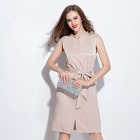apricot types - In the summer of The European And American High end Leisure Cultivate One s Morality Sleeveless Waist Type Apricot Dress B
