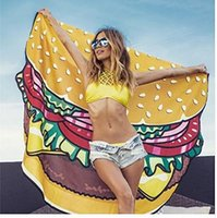 active swimsuits - 150cm Round Yoga Mat Picnic Blanket Pizza Hamburger Donut Beach Shower Towel Blanket Swimsuit Cover Ups Swim Towel Bathing Suit