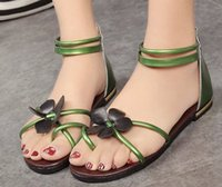 Wholesale Free drop shipping flat sole Bohemian lovely flowers sand shoes sandals girls students shoes