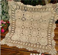 Al por mayor-hecha a mano del ganchillo del mantel para la mesa de crochet cubierta tapetes de ratón Estera de tela Coaster Tabla vendimia por fuentes de la boda