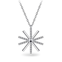allergy necklaces - 2016 New Stamped Sterling Silver Plated Necklace Sun Like Snow Flower Like AAA Zircon CZ Crystal Pendant for Women CC C Avoid Allergy