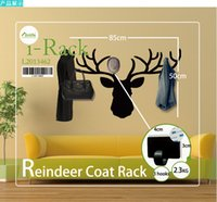 Wholesale 3 Hooks Reindeer Coat Hat Jacket Stand Coat Scarf Bag Holder Hanger Rack Wall Mounted Home Decoration