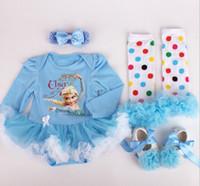 Bébé garçons filles de bande dessinée de Noël combinaisons bébé nouveau-nés de l'année coton coton robes vêtement enfants congelés jupe cosplay 4pcs GLS010
