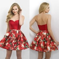Wholesale Mini Short Print Homecoming Dresses Strapless Backless Prom Dress Custom Made A Line Cocktail Gowns Plus Size