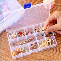 Wholesale 10 Slots Adjustable Jewelry Tool Box Organizer Storage Beads Box Jewelry Finding Boxes Plastic Packaging Boxes DDH01