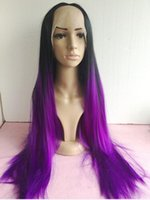 Cheap Free shipping hot sell straight black to purple ombre heat resistant hair cheap long synthetic lace front wig women wig