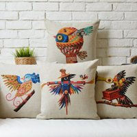 africa birds - 45cm Boho Africa Retro Bird Cotton Linen Fabric Waist Pillow inch Hot Sale New Home Decorative Sofa Car Back Cushion