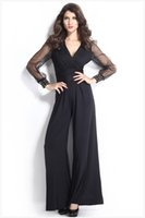 Wholesale New Spring Women s Jumpsuits Rivets Lace Long Sleeve Patchwork Sexy V Neck Bell Overalls Lady s Casual Jumpsuits Black Blue Wine red