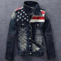 american flag shorts for men - New arrive American flag denim jacket for men Fashion motorcycle denim jackets do old Men denim coats S XXXL