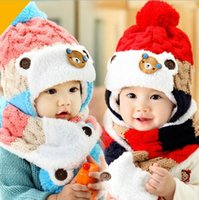 Wholesale Scarfs Bear For Kids - Winter Baby Hat and Scarf Cute Bear Crochet Knitted Caps for Infant Boys Girls Children Kids Neck Warmer HJIA996