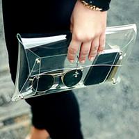 Wholesale 2016 Summer Fashion Unisex PVC Transparent Envelope Clutch Clear Color Bag Handbag For Women Lady phone ipad iphone Bag