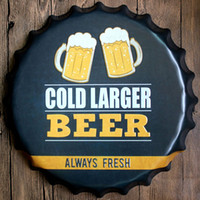 Wholesale 40cm Round Beer Bottle Cap Metal Plaque Tin Sign Bar Club Decorative Plates Wall Poster