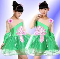 Wholesale 2016 New Arrival Folk Dance Lotus Pool Moonlight Tutu Skirts Veil Dress Uniforms Children s Dancewear Performance Clothes Stage Costume