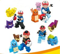 Wholesale DHL Pocket Poke Building Blocks Styles Pikachu Minifigures ABS DIY Model Toys Kids Educational Learning Blocks Christmas Gift