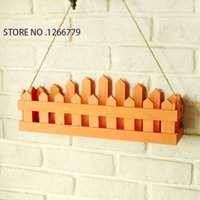 Wholesale Pastoral style fresh and colorful wooden fence the flower of the fence wooden fence flower pots can do wall decorations