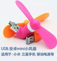 Wholesale Summer Mini USB Dock Fan Android Micro USB Fan Cellphone MINI Cooler Rotary Handy Fan multi color for Android and Power Bank