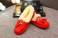 australia boat - 2016 winter new Arrivals Womens Genuine suede Leather Australia Sheepskin fur lined warm boat shoes Casual fashion gold buckle sneakers