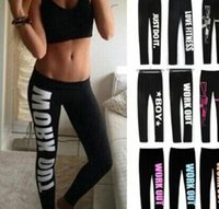 Wholesale Women Sports Printed Work Out Leggings Gun Harajuku Black Leggings Just Do It Gym Sexy Bottom Design Fitness Leggings