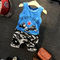 baby army outfit - Boys Vest Camouflage Harem Pants Suit Children Army Clothing Sets Kids Baby Casual Sports Outfits Two piece Sets Boy Summer Clothes K236
