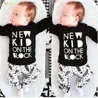 Wholesale New baby boy clothes infant clothes cotton letter printed long sleeve t shirt pants suit baby girl clothing sets