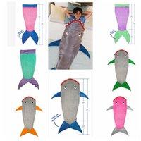 air conditioning cold - Kids Shark Sleeping Bags Mermaid Tail Sleeping Bags blanket Mermaid Cocoon Costume kids Bedding Wrap Air Condition Blankets KKA958
