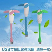 abs usb cooling - 400pcs CCA3999 Mini Portable Bamboo Dragonfly Fan Flexible Three Leaf Power Bank Notebook Device With USB Interface ABS EVA Air Cleaning
