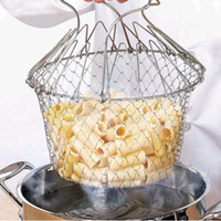 Wholesale Chef Basket Stainless Steel Multifunction Telescopic Folding Baskets Strainer Water Cook Fried Basket Rack Hot Sale