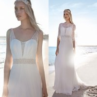 Cheap Rembo Styling Beach Wedding Dresses With Lace Jacket Sweetheart Neck Cheap Bridal Gowns A-Line Floor Length Chiffon Wedding Dress