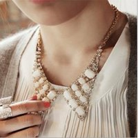 Wholesale Shiny treasure Acrylic fake collar necklace pendant sweater chain Fashion jewelry cheap Jewelry for women Mixed color C189