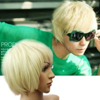 Wholesale Popular Anime Cosplay Short Turnup Side Bang Hair Platinum Blonde Full Wig New hair and wigs