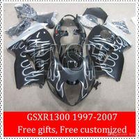 Racing Carenado De 97 98 99 00 01 02 03 04 05 06 07 Suzuki GSXR1300 libre GSX-R1300 GSXR 1300 Hayabusa Plata llamas de fuego carenado kits de encargo