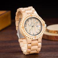 Cheap Uwood White Maple Wood Luxury Wooden Date Analog Watch For Men Relojes Japan Miyota Watch Movement Wood Wristwatch Factory OEM