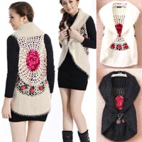 Wholesale spring lady vest coat autumn cardigan handwork crochet women waistcoat floral mohair sleeveless female outwear hollow out knitwear