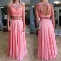 backless tops women - Pretty Peach Pink Two Pieces Dresses Evening Wear Sequins Beaded Keyhole Backelss Draped Chiffon Long Lace Top Women Formal Prom Gowns