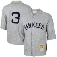achat en gros de jerseys yankees pas cher-NY Yankees # 3 Babe Ruth Blanc 1929 Gris Cooperstown Collection Mens Throwback New York Baseball Jerseys Cheap De Chine