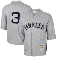al por mayor jerseys yankee barato-NY Yankees de béisbol # 3 de Babe Ruth White Gray 1929 Cooperstown Collection para hombre de la vuelta de Nueva York jerseys baratos de China