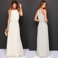 Wholesale Chiffon Sleeveless O Neck Long Elegant bohemi long chiffon Dresses Summer Beach Wedding Party Plus Size Evening Dress