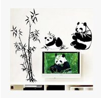 bamboo stickers - Pvc wall stickers home decoration for kids bedroom Giant pandas eat bamboo