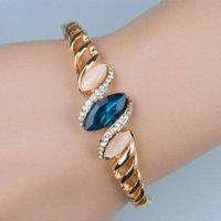 agate type - 2014 Mix order Blue Crystal Screw Type Opal Modern Chic Set Drill Rose Gold Bracelets amp Bangles For Women A06